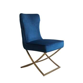 Wexler Dining Chair Navy - Brass Base (H94 x W54 x D85cm)