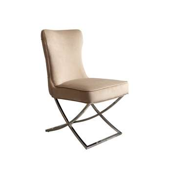 Wexler Dining Chair Taupe - Silver Base (H94 x W54 x D85cm)