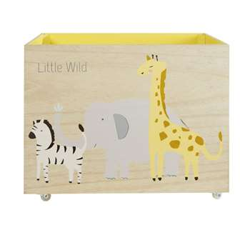 Wheeled Toy Chest with Animals Print (H40 x W50 x D30cm)