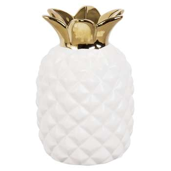 White and Gold Ceramic Pineapple Vase (19.7 x 13.5cm)
