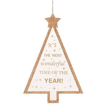 White and Gold Christmas Tree Hanging Decoration (H27.5 x W18.5 x D0.6cm)