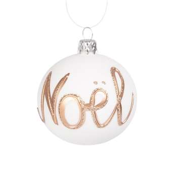 White and Golden Glass Christmas Bauble, Set of 6 (H7 x W7 x D7cm)