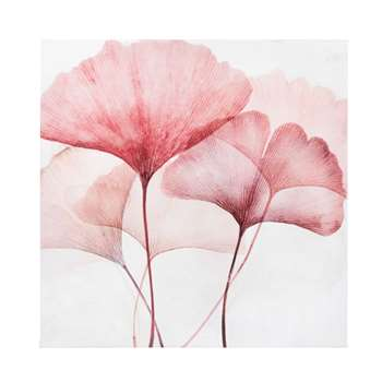 White and Pink Ginkgo Printed Canvas (H35 x W35 x D2.8cm)