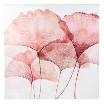 White and Pink Ginkgo Printed Canvas (H75 x W75 x D2.8cm)