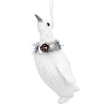 White Bristle Penguin with Wreath Decoration (H13 x W6 x D4cm)