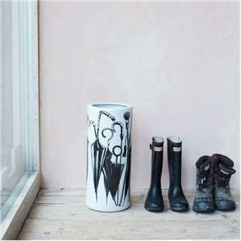 White Ceramic Umbrella Stand (H47 x W21 x D21cm)