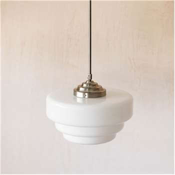 White Glass Pendant Light (H20 x W40 x D40cm)