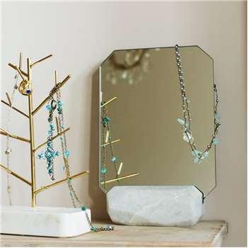 White Marble Angular Mirror (29 x 19cm)