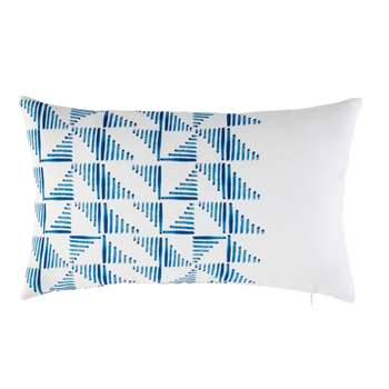 White Outdoor Cushion with Blue Geometric Graphic Motifs (30 x 50cm)