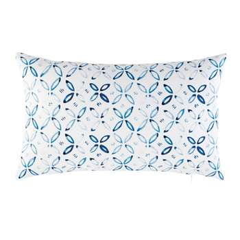 White Outdoor Cushion with Blue Graphic Motifs (30 x 50cm)