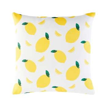 White Outdoor Cushion with Print of Lemons (45 x 45cm)