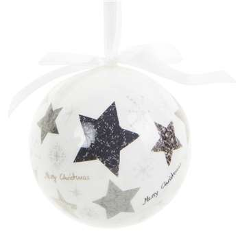White Paper Christmas Bauble with Black Stars, Set of 6 (H8 x W8 x D8cm)