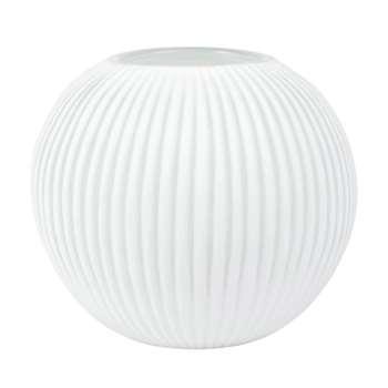 White Ribbed Glass Ball Vase (H21.5 x W23.5 x D23.5cm)