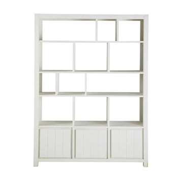 WHITE Solid wood bookcase in white (200 x 150cm)