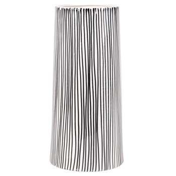White Stoneware Vase with Black Line Print (H27.5 x W12.7 x D12.7cm)