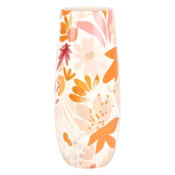 White Stoneware Vase with Pink and Yellow Floral Print (H30 x W12 x D12cm)