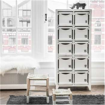 White Storage Cabinet in Mango Wood with Reversible Drawers 160 x 70