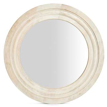 White Wash Round Wooden Mirror, White (H49 x W49 x D2.5cm)