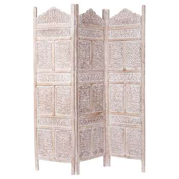 Whitewashed Mango Wood Folding Screen In White (180 x 150cm)
