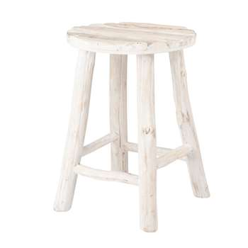 Whitewashed Oak Stool (H35 x W30 x D30cm)