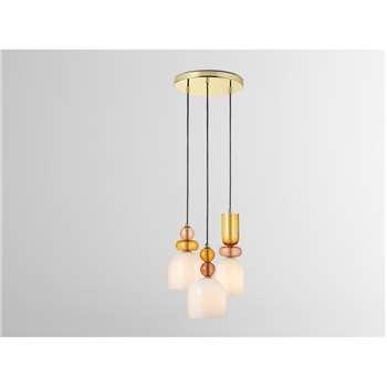 Whitney Cluster Pendant Lamp, Pink Multi (H98 x W30 x D30cm)