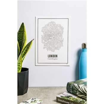 Wijck London Map Wall Art Print (H30 x W21cm)