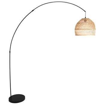 WILD black metal and woven rattan floor lamp (H191 x W37 x D170cm)