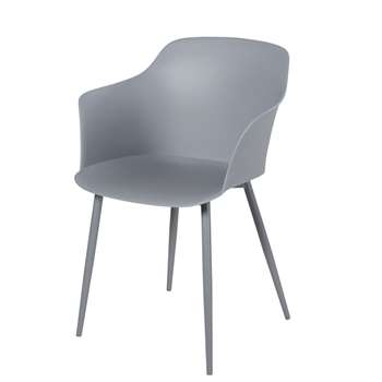WILL - Grey and Metal Armchair (H82 x W58 x D53cm)