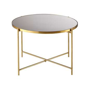 WILLIAM Gold Metal and Smoked Glass End Table (45 x 60cm)