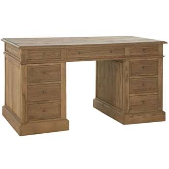 William Pedestal Desk, Weathered Oak (80 x 150cm)