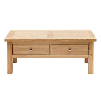 Willis & Gambier Ash denver Coffee Table With 2 Drawers, Light Brown (45 x 110cm)