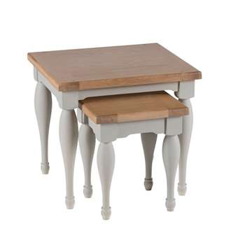 Willis & Gambier Oak and Painted worcester Nest of 2 Tables, Light Grey (50 x 55cm)