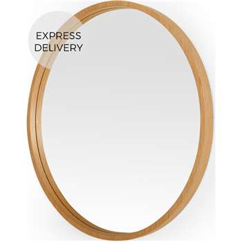 Wilson Large Round Wall Mirror, Oak (Diameter 80cm)