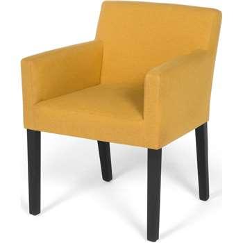 Wilton Carver Dining Chair, Yolk Yellow and Birch Black (80 x 61cm)