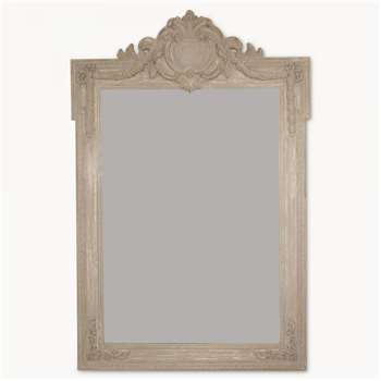 Wilton Distressed Brown Mantle Mirror with Top Detail (165 x 110cm)