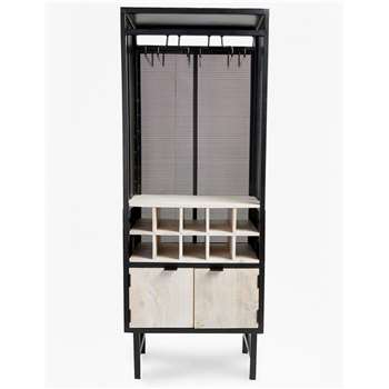 Wine Cabinet - Black And Natural (H146 x W56 x D38cm)