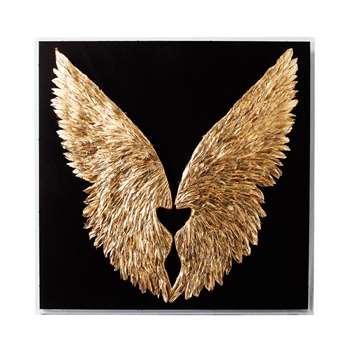 Wings feather art black (H120 x W120 x D8cm)