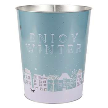 WINTER Printed Blue Metal Wastepaper Basket (H26 x W23 x D23cm)