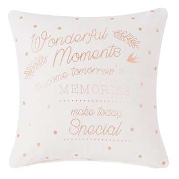 WONDER MOMENTS White and Gold Printed Cotton Cushion Cover (40 x 40cm)