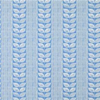 Woodblock Leaves Denim Wallpaper
