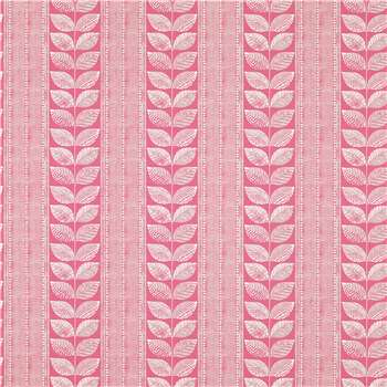 Woodblock Leaves Raspberry Wallpaper