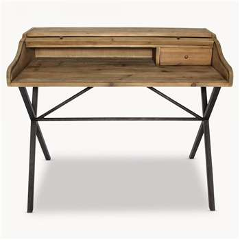 Woodcroft Bleached Pine and Metal Desk (93 x 110cm)