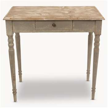 Woodcroft Colonial Grey and Wood Top Table with Drawer (78 x 80cm)