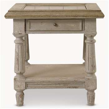 Woodcroft Colonial Grey Oak and Stone Top Side Table (61 x 60cm)