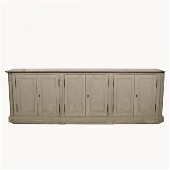 Woodcroft Colonial Grey Sideboard w Stone Top and New Lock (H85 x W260 x D50cm)