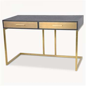 Woodcroft Ebony Wood and Brass Desk (H76 x W120 x D60cm)
