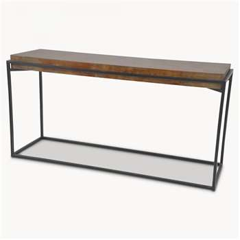 Woodcroft Elm Console Table with Rustic Black Iron Frame (H80 x W160 x D50cm)