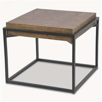 Woodcroft Elm Side Table with Rustic Black Iron Frame (H50 x W60 x D60cm)