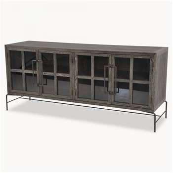 Woodcroft Glass Fronted Rustic Black Oak and Iron Sideboard (H80 x W184 x D51.6cm)