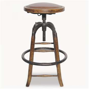 Woodcroft Leather and Metal Adjustable Bar Stool (H71 x W42cm)